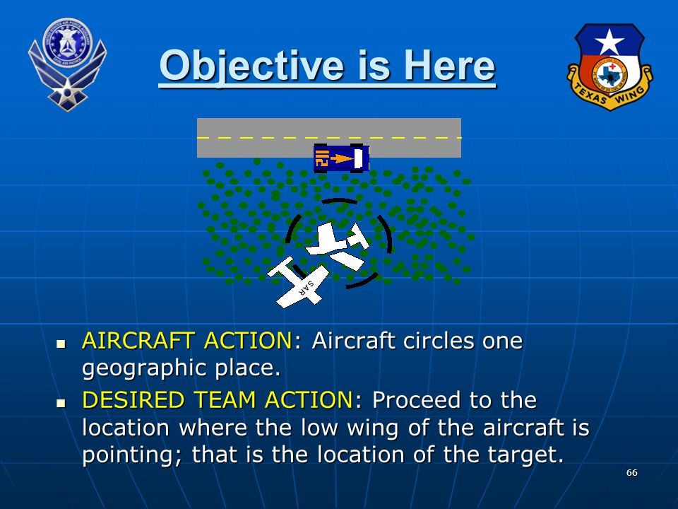 66 Objective is Here AIRCRAFT ACTION: Aircraft circles one geographic place.