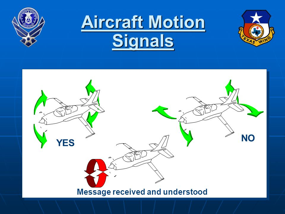 75 Aircraft Motion Signals YES NO Message received and understood