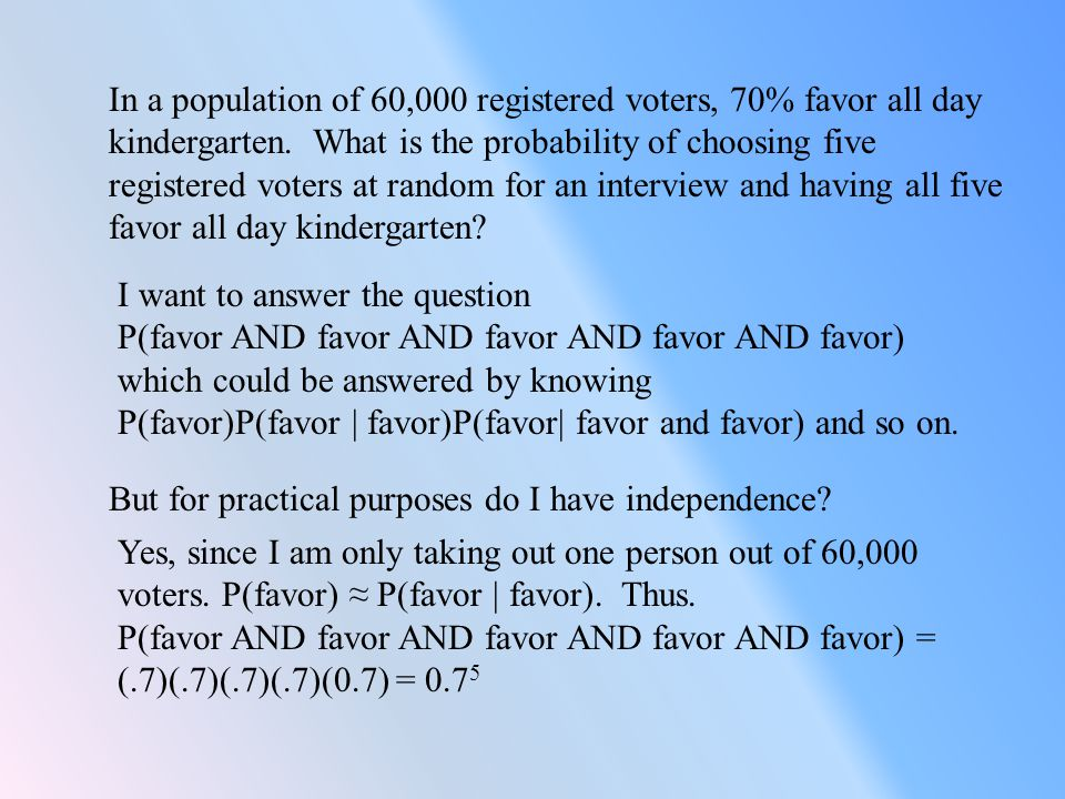 In a population of 60,000 registered voters, 70% favor all day kindergarten. What is the probability of choosing five registered voters at random for