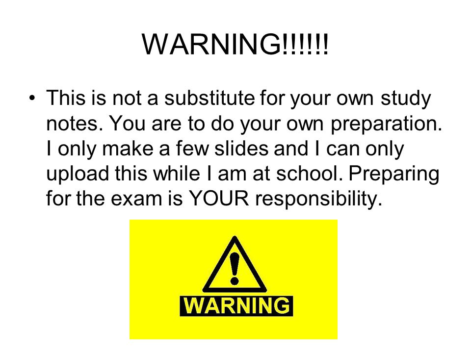 WARNING!!!!!. This is not a substitute for your own study notes.