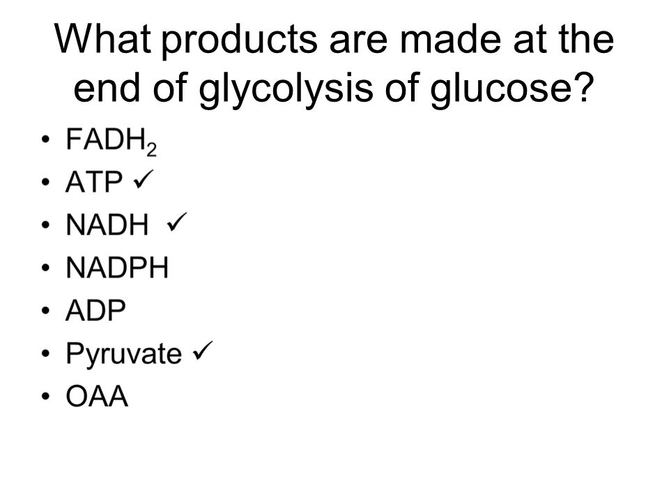 What products are made at the end of glycolysis of glucose?
