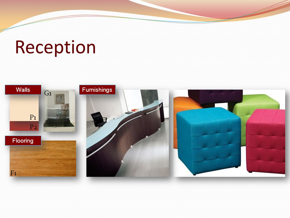 Reception Furnishings Flooring Walls F1 P1 P2 G1