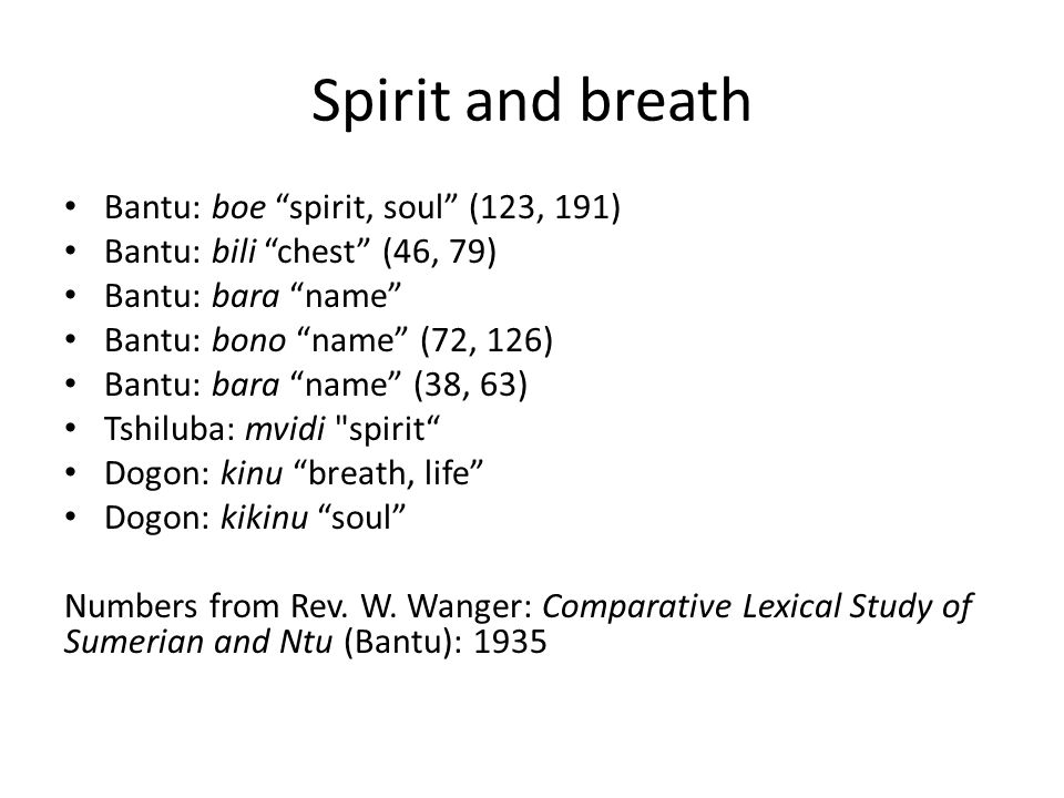 "Spirit and breath Bantu: boe ""spirit, soul"" (123, 191) Bantu: bili ""chest"" (46, 79) Bantu: bara ""name"" Bantu: bono ""name"" (72, 126) Bantu: bara ""name"""