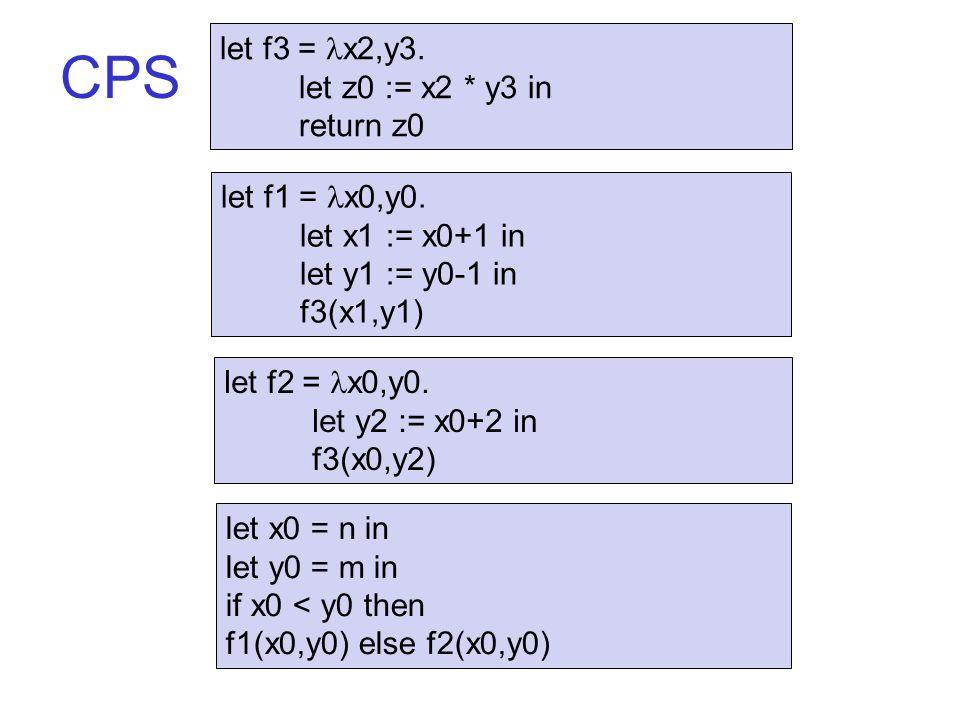 CPS let x0 = n in let y0 = m in if x0 < y0 then f1(x0,y0) else f2(x0,y0) let f1 = x0,y0.