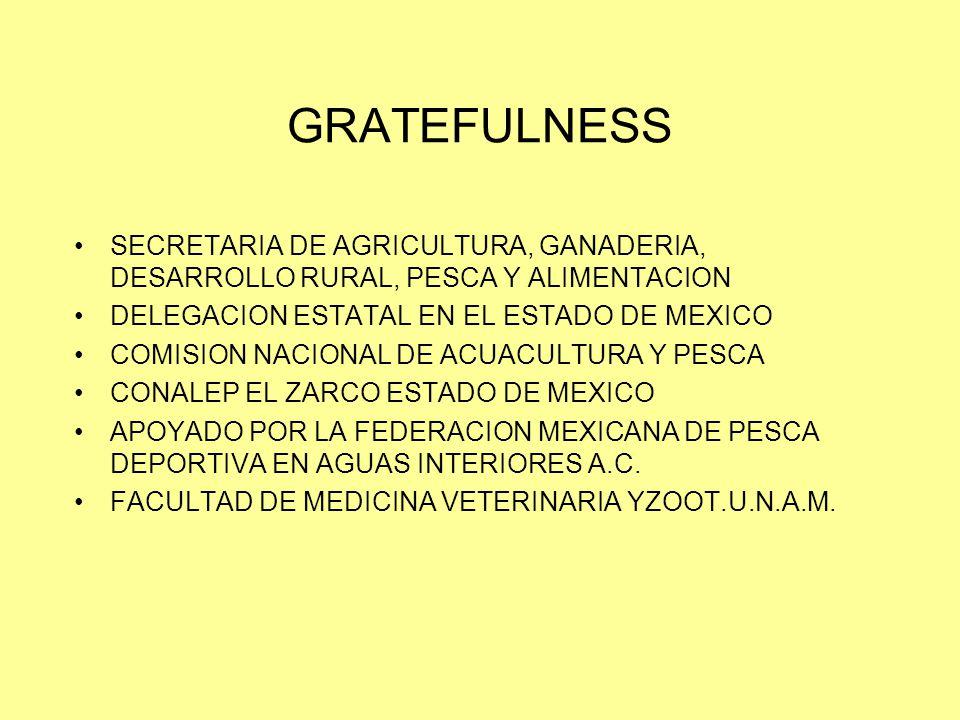 GRATEFULNESS SECRETARIA DE AGRICULTURA, GANADERIA, DESARROLLO RURAL, PESCA Y ALIMENTACION DELEGACION ESTATAL EN EL ESTADO DE MEXICO COMISION NACIONAL DE ACUACULTURA Y PESCA CONALEP EL ZARCO ESTADO DE MEXICO APOYADO POR LA FEDERACION MEXICANA DE PESCA DEPORTIVA EN AGUAS INTERIORES A.C.
