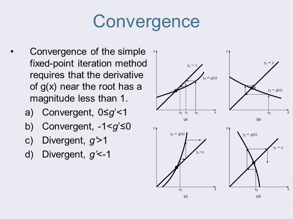 Convergence Convergence of the simple fixed-point iteration method requires that the derivative of g(x) near the root has a magnitude less than 1. a)C