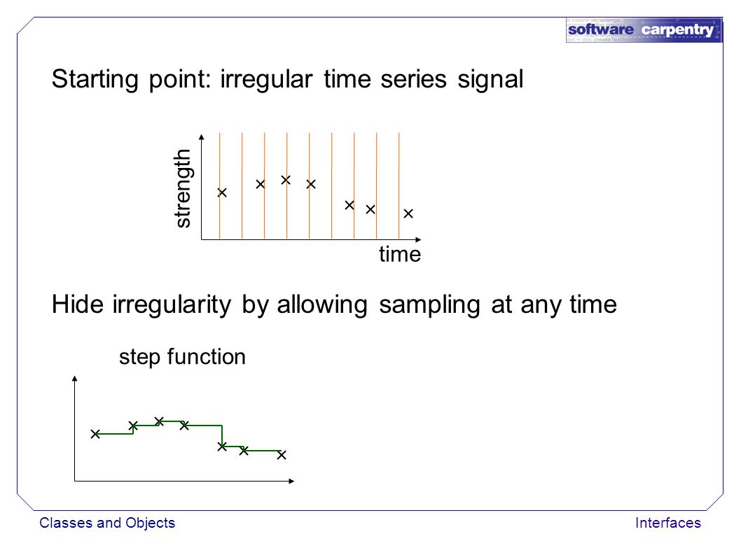 Classes and ObjectsInterfaces Starting point: irregular time series signal time strength Hide irregularity by allowing sampling at any time step function