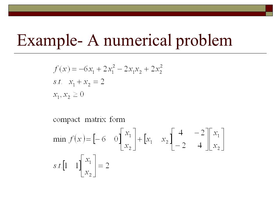 Example- A numerical problem