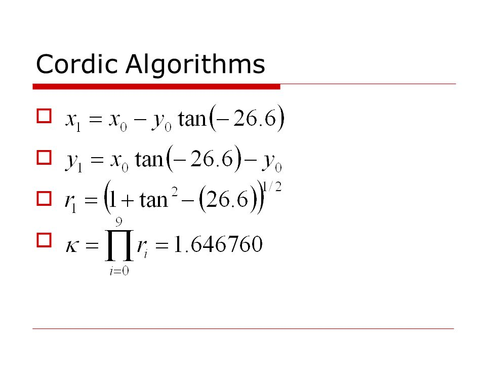 Cordic Algorithms        