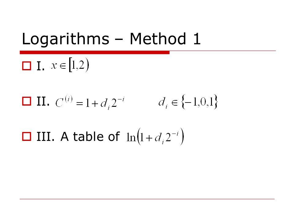 Logarithms – Method 1  I.  II.  III. A table of