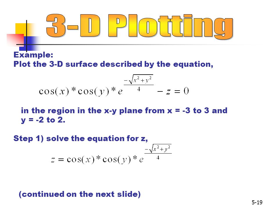 5-19 Example: Plot the 3-D surface described by the equation, in the region in the x-y plane from x = -3 to 3 and y = -2 to 2.