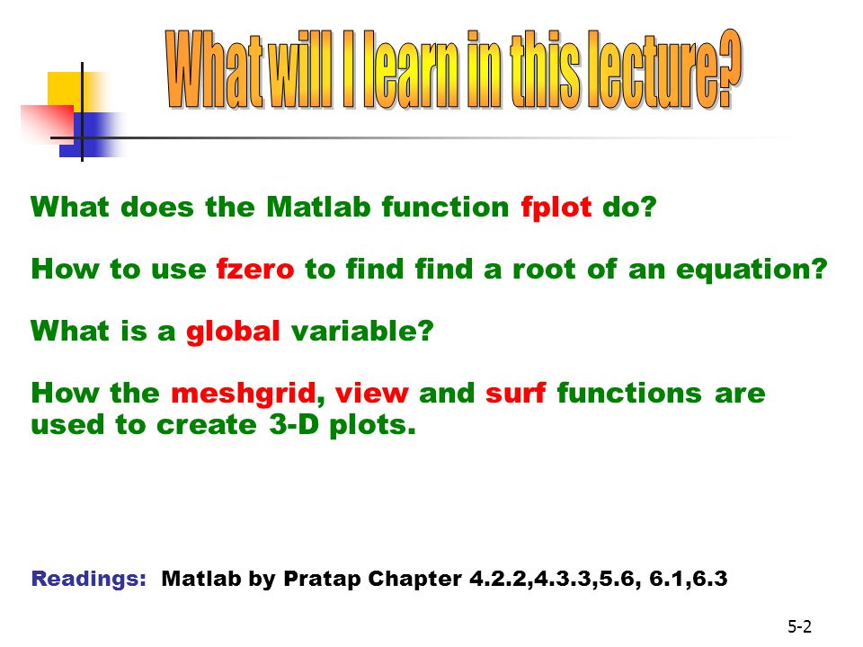 5-2 What does the Matlab function fplot do.How to use fzero to find find a root of an equation.