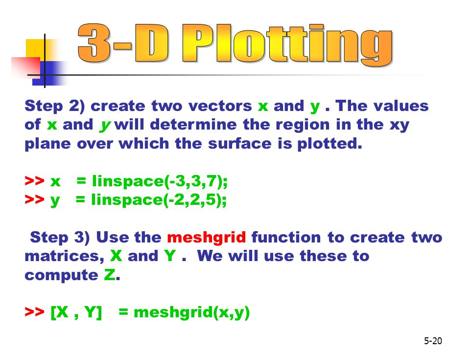 5-20 Step 2) create two vectors x and y.