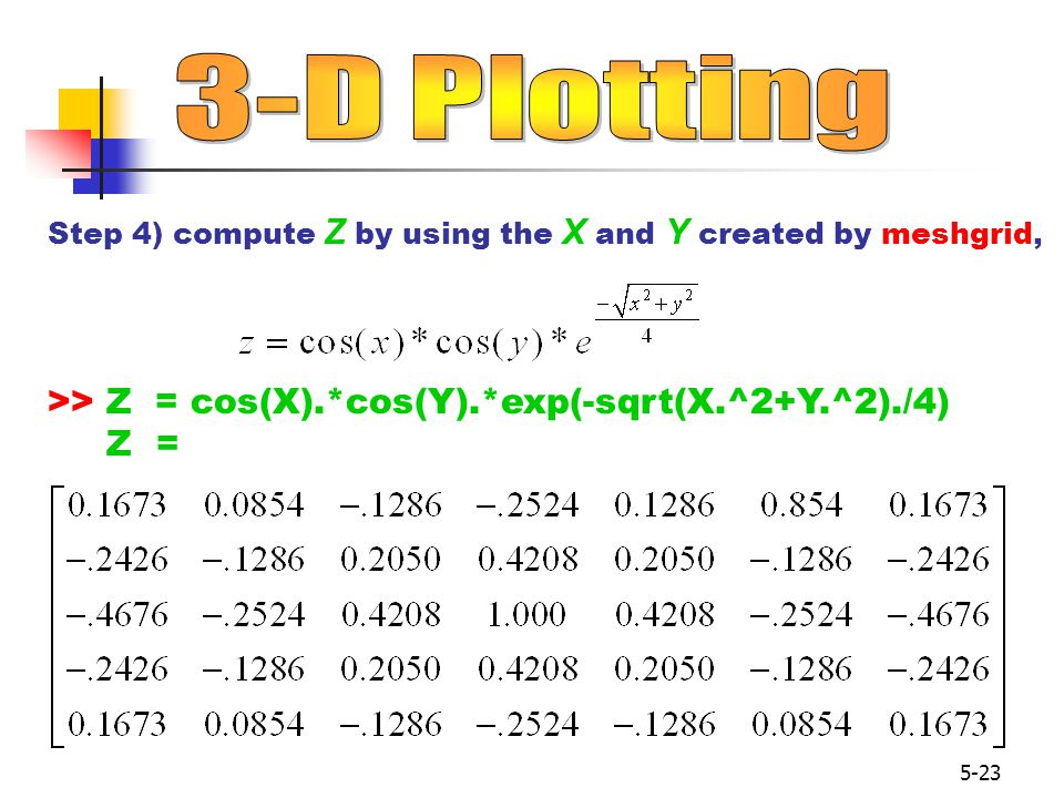 5-23 Step 4) compute Z by using the X and Y created by meshgrid, >> Z = cos(X).*cos(Y).*exp(-sqrt(X.^2+Y.^2)./4) Z =