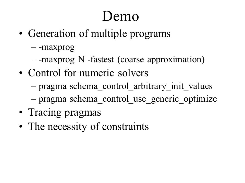 Term utilities implemented on top of Prolog a lot of functional-programming style predicates for –lists, sets, bags, relations –terms, AC-terms operations –term_substitute, subsumption, differences between term sets...