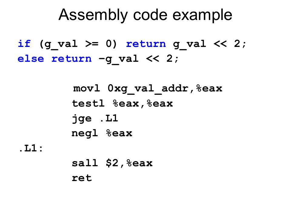 Assembly code example if (g_val >= 0) return g_val << 2; else return –g_val << 2; movl 0xg_val_addr,%eax testl %eax,%eax jge.L1 negl %eax.L1: sall $2,
