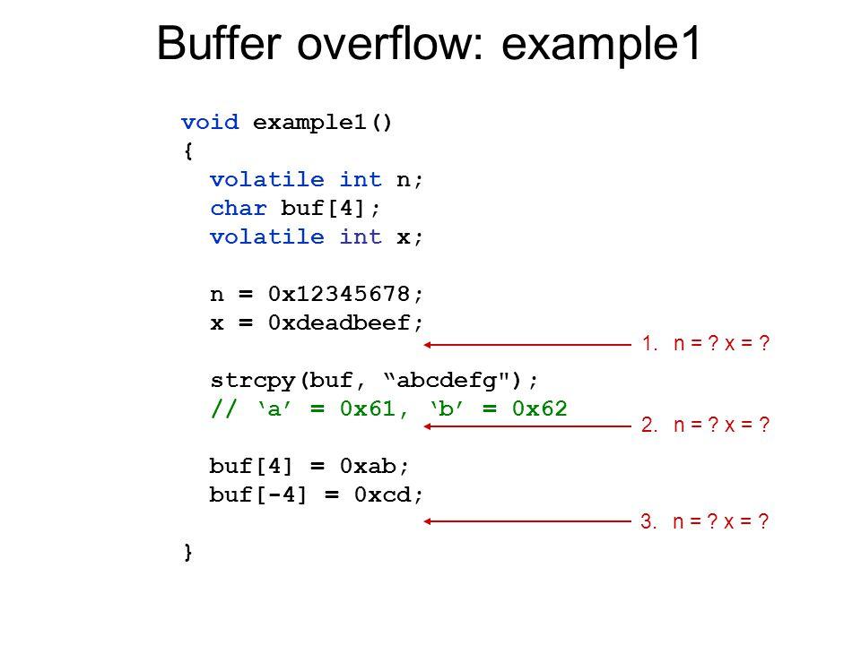 "Buffer overflow: example1 void example1() { volatile int n; char buf[4]; volatile int x; n = 0x12345678; x = 0xdeadbeef; strcpy(buf, ""abcdefg"