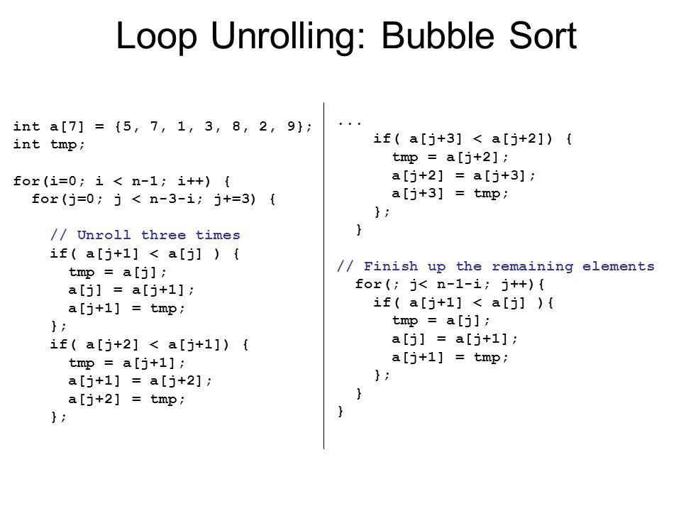 Loop Unrolling: Bubble Sort int a[7] = {5, 7, 1, 3, 8, 2, 9}; int tmp; for(i=0; i < n-1; i++) { for(j=0; j < n-3-i; j+=3) { // Unroll three times if(
