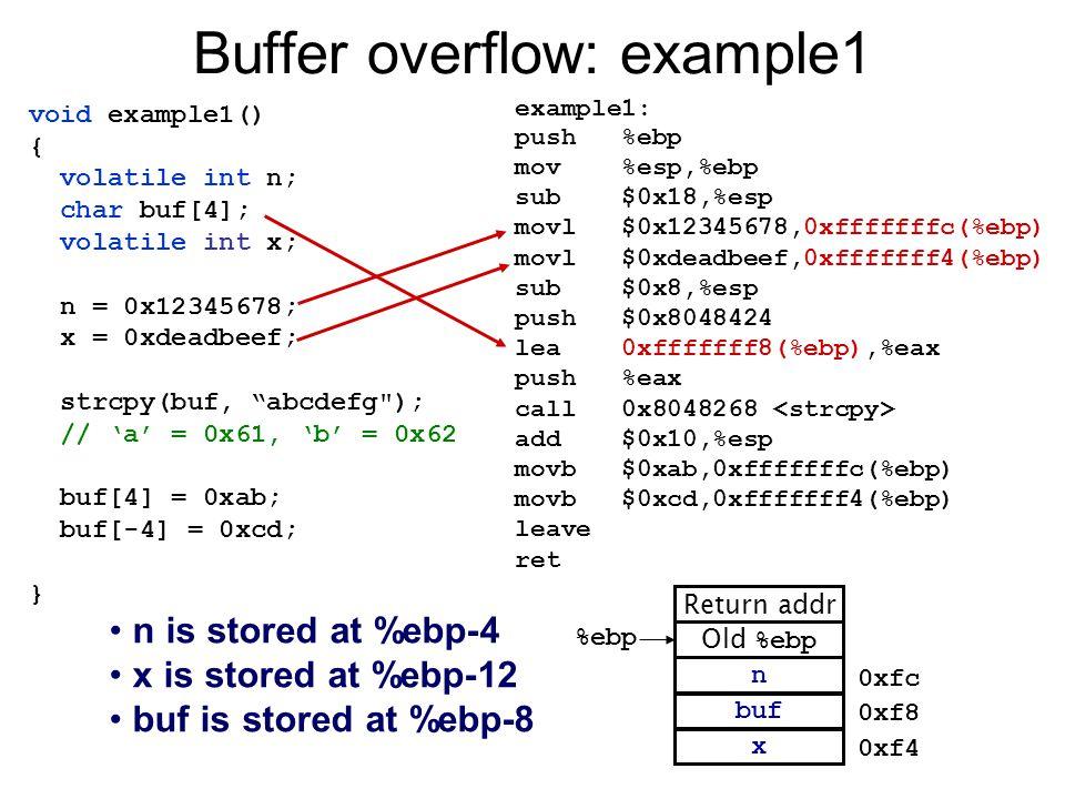 "void example1() { volatile int n; char buf[4]; volatile int x; n = 0x12345678; x = 0xdeadbeef; strcpy(buf, ""abcdefg"