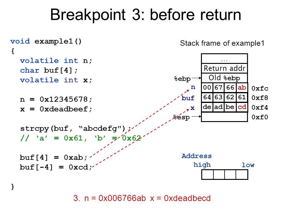 Breakpoint 3: before return Old %ebp %ebp Return addr … %esp 0xfc 0xf8 0xf4 0xf0 66ab0067 becddead Stack frame of example1 n buf x 3.n = 0x006766ab x