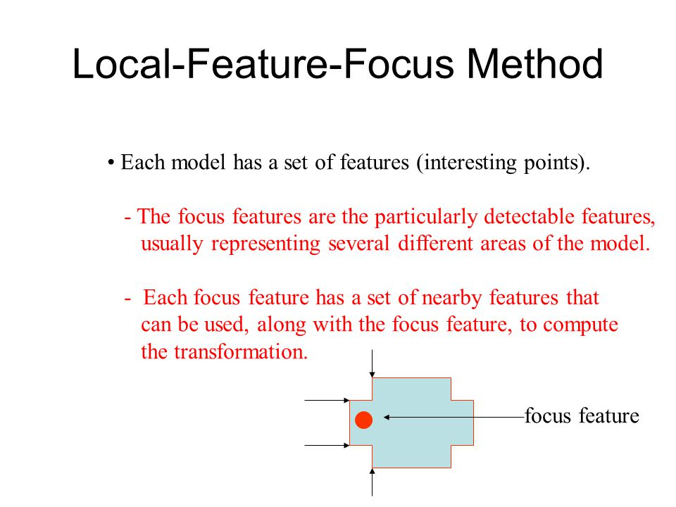 Local-Feature-Focus Method Each model has a set of features (interesting points).