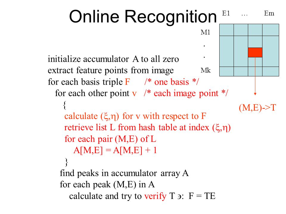 Online Recognition initialize accumulator A to all zero extract feature points from image for each basis triple F /* one basis */ for each other point v /* each image point */ { calculate ( ,  ) for v with respect to F retrieve list L from hash table at index ( ,  ) for each pair (M,E) of L A[M,E] = A[M,E] + 1 } find peaks in accumulator array A for each peak (M,E) in A calculate and try to verify T  : F = TE M1 Mk E1 … Em....