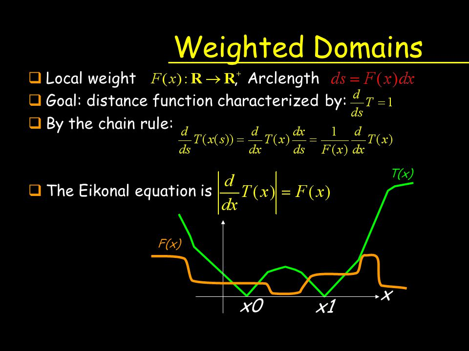 Weighted Domains qLocal weight, Arclength qGoal: distance function characterized by: qBy the chain rule: qThe Eikonal equation is x T(x) x1 x0 F(x)