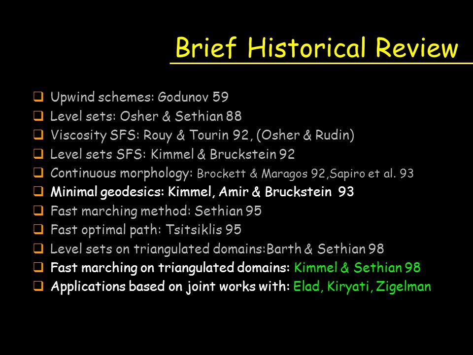 Brief Historical Review qUpwind schemes: Godunov 59 qLevel sets: Osher & Sethian 88 qViscosity SFS: Rouy & Tourin 92, (Osher & Rudin) qLevel sets SFS: