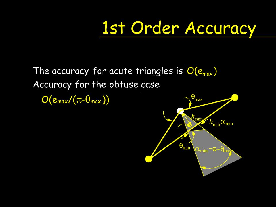 1st Order Accuracy The accuracy for acute triangles is O(e ) Accuracy for the obtuse case O(e /(  -  )) max