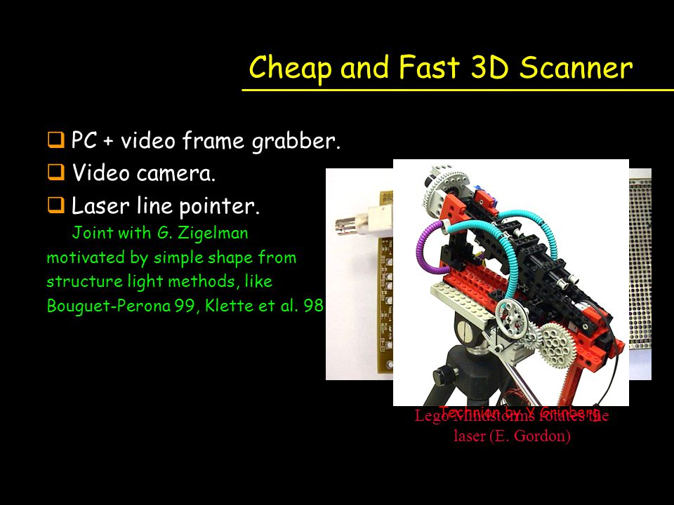 Cheap and Fast 3D Scanner qPC + video frame grabber. qVideo camera. qLaser line pointer. Joint with G. Zigelman motivated by simple shape from structu
