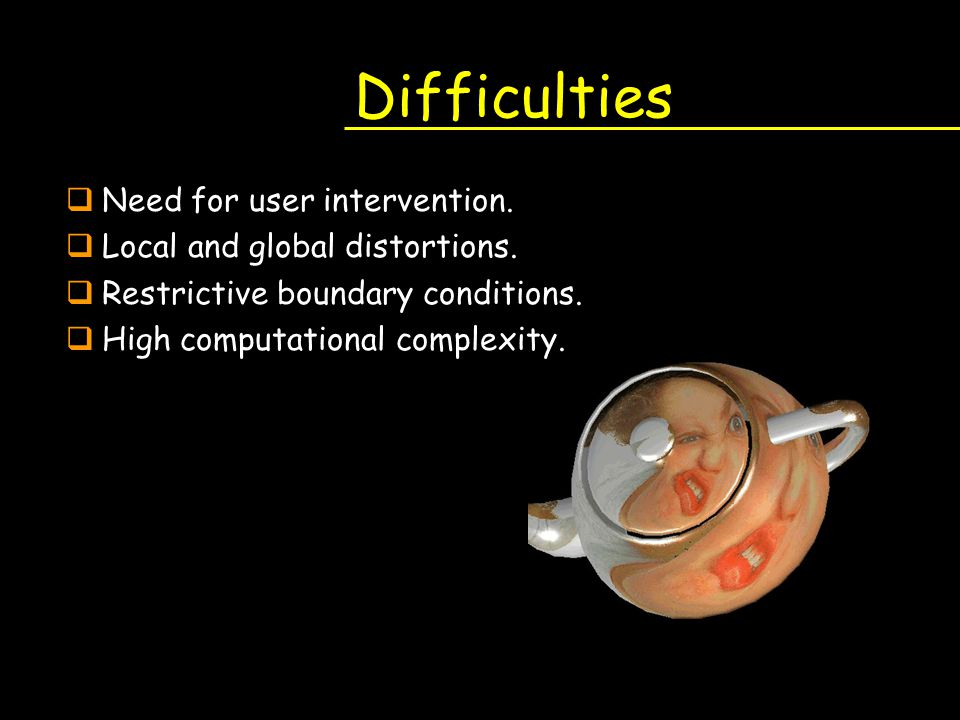 Difficulties qNeed for user intervention. qLocal and global distortions. qRestrictive boundary conditions. qHigh computational complexity.
