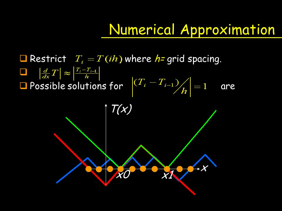 Numerical Approximation qRestrict, where h= grid spacing. q qPossible solutions for are x T(x) x1 x0