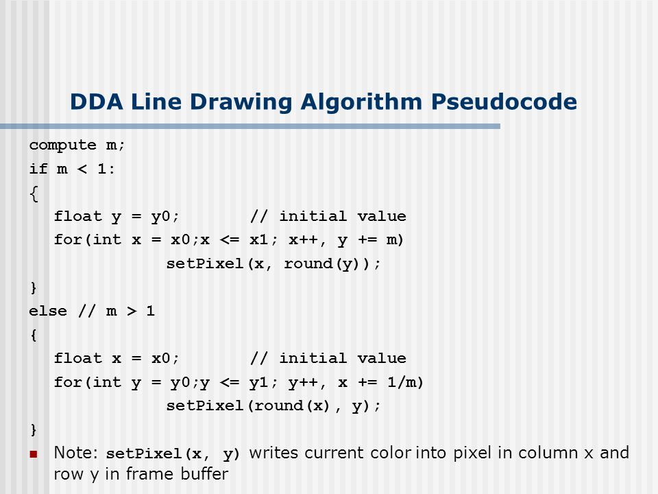 DDA Line Drawing Algorithm Pseudocode compute m; if m < 1: { float y = y0; // initial value for(int x = x0;x <= x1; x++, y += m) setPixel(x, round(y)); } else // m > 1 { float x = x0; // initial value for(int y = y0;y <= y1; y++, x += 1/m) setPixel(round(x), y); } Note: setPixel(x, y) writes current color into pixel in column x and row y in frame buffer