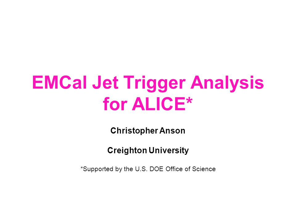 Christopher Anson http://pdsfweb01.nersc.gov/~canson/HijingHTMLStuff.html2 Introduction The goals of this study are to… Investigate trigger properties starting with event simulations + simple assumptions about detector.