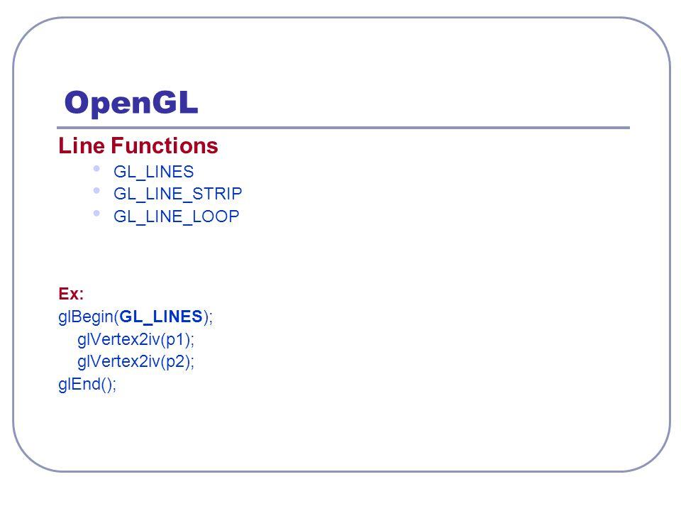 OpenGL Line Functions GL_LINES GL_LINE_STRIP GL_LINE_LOOP Ex: glBegin(GL_LINES); glVertex2iv(p1); glVertex2iv(p2); glEnd();
