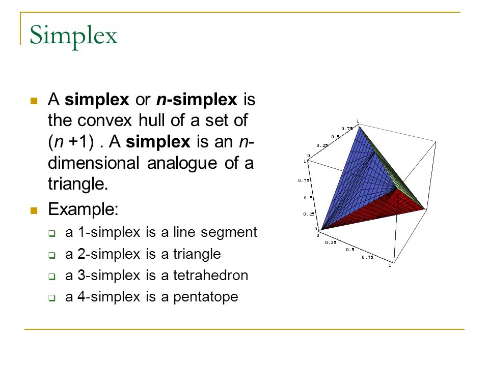 Simplex A simplex or n-simplex is the convex hull of a set of (n +1).