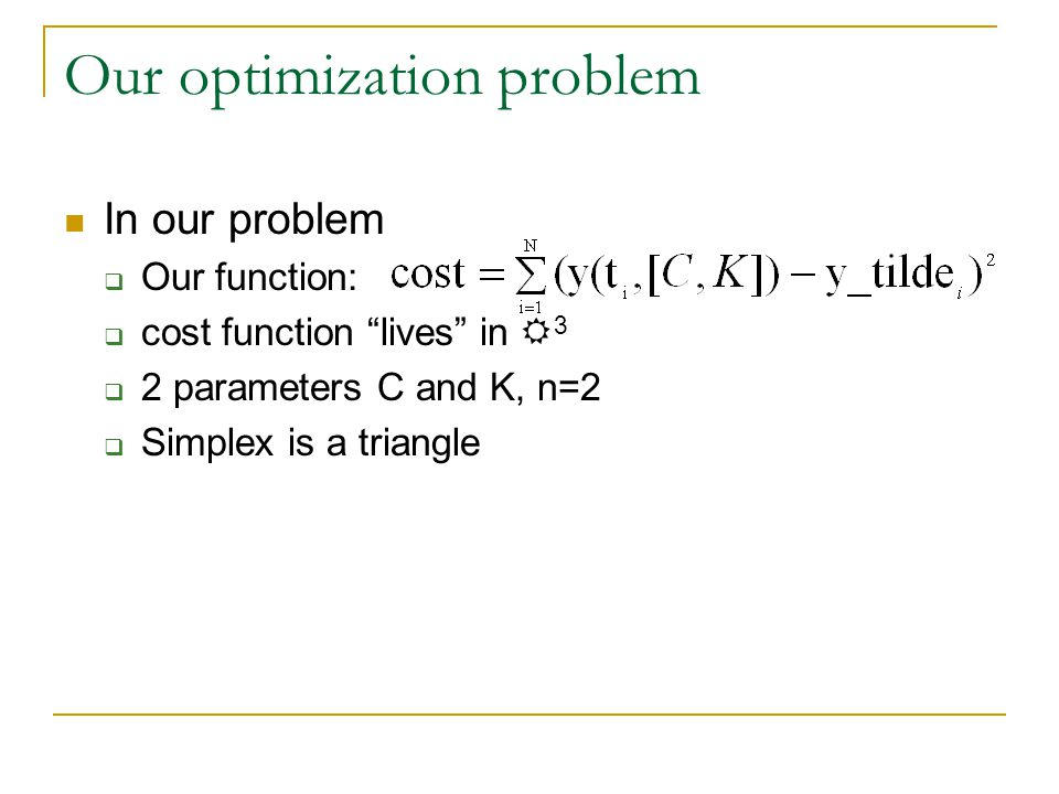 Our optimization problem In our problem  Our function:  cost function lives in R 3  2 parameters C and K, n=2  Simplex is a triangle