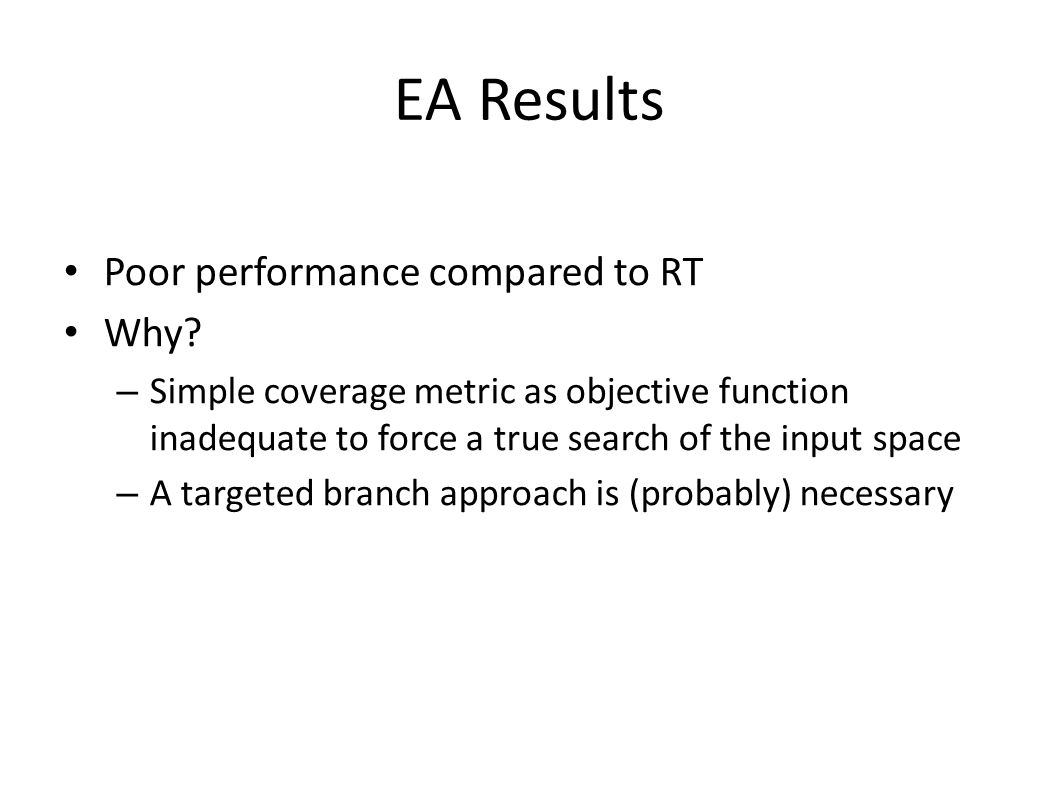 EA Results Poor performance compared to RT Why? – Simple coverage metric as objective function inadequate to force a true search of the input space –