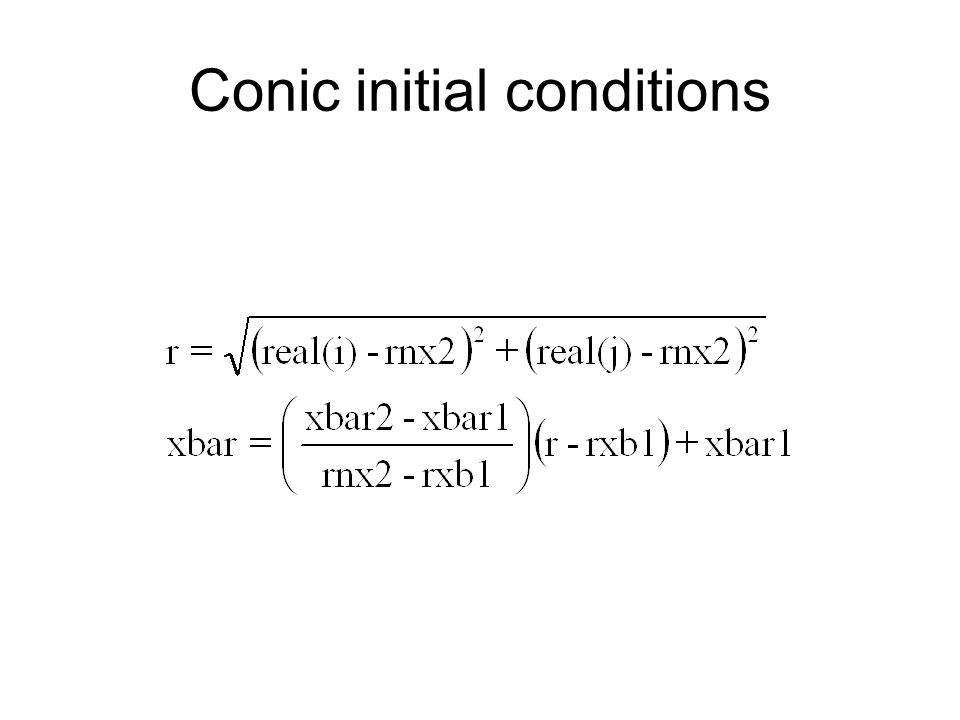 Conic initial conditions