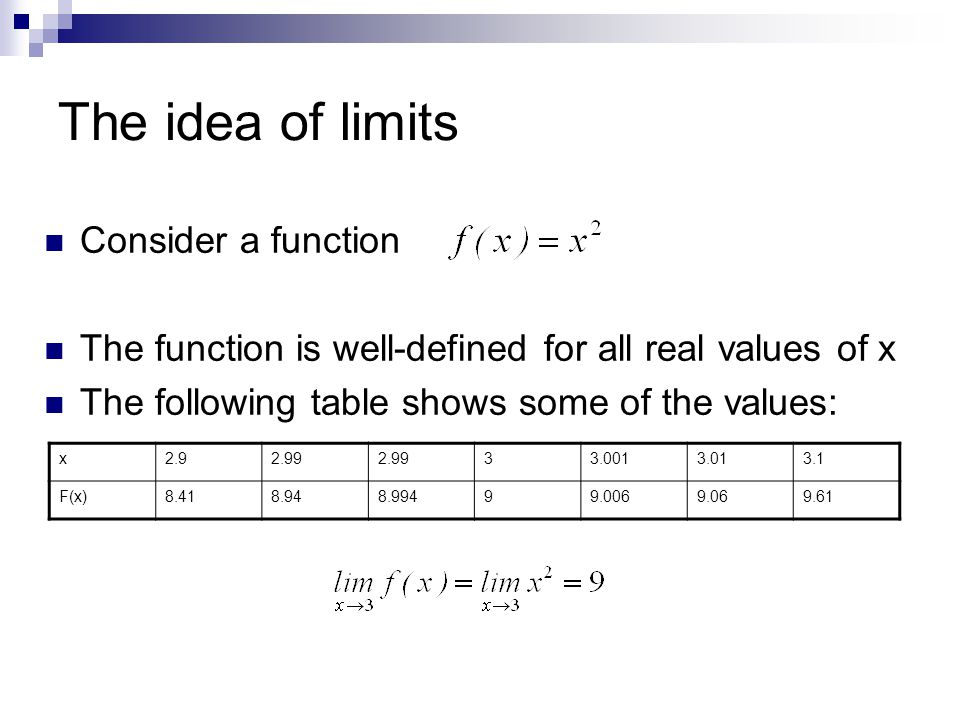 The idea of limits Consider a function The function is well-defined for all real values of x The following table shows some of the values: x F(x)