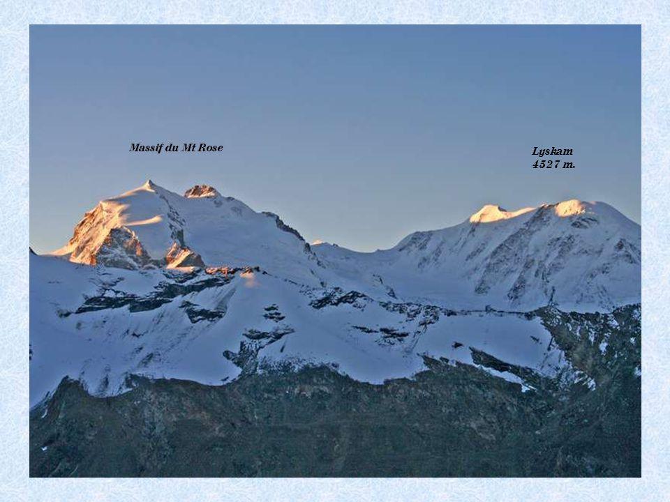 Pt Cervin 3883 m.Breithorn 4164 m. Lyskam 4527 m. Castor és Pollux 4223 m. – 4092 m.