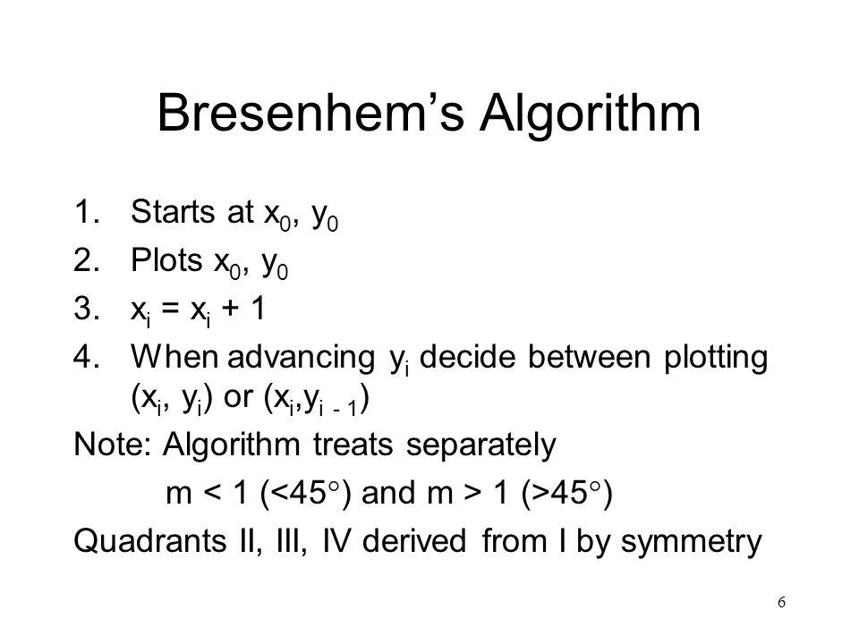 6 Bresenhem's Algorithm 1.Starts at x 0, y 0 2.Plots x 0, y 0 3.x i = x i + 1 4.When advancing y i decide between plotting (x i, y i ) or (x i,y i - 1 ) Note: Algorithm treats separately m 1 (>45°) Quadrants II, III, IV derived from I by symmetry