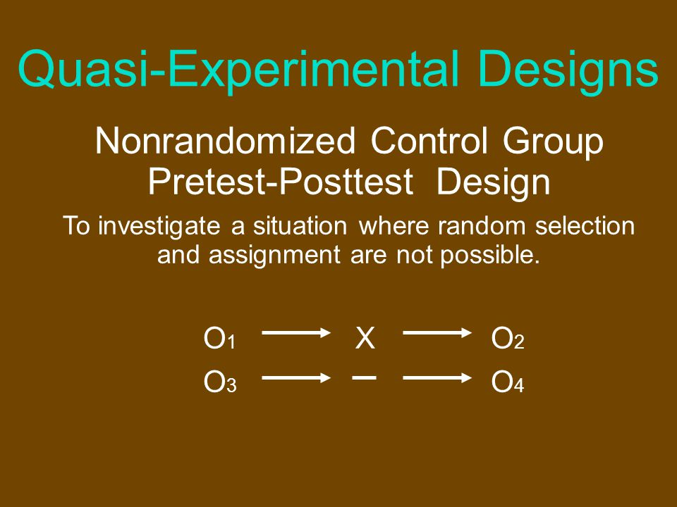 Quasi-Experimental Designs Time Series Experimental Design To determine the influence of a variable introduced only after a series of initial of observations and only where one group is available.