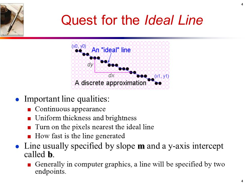 4 4 Quest for the Ideal Line ● Important line qualities: ■ Continuous appearance ■ Uniform thickness and brightness ■ Turn on the pixels nearest the i