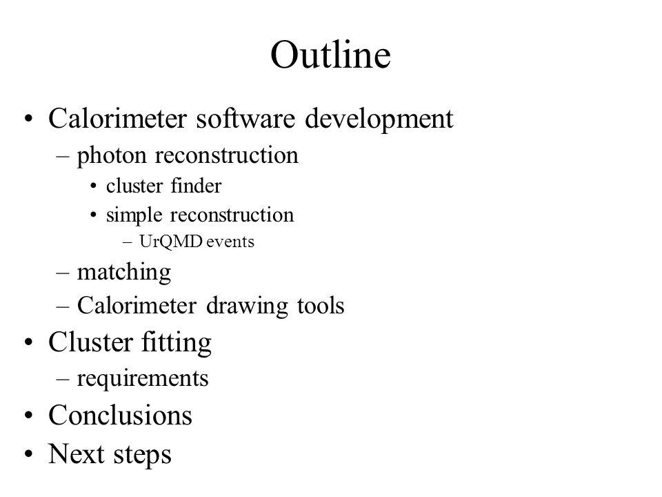 Outline Calorimeter software development –photon reconstruction cluster finder simple reconstruction –UrQMD events –matching –Calorimeter drawing tool