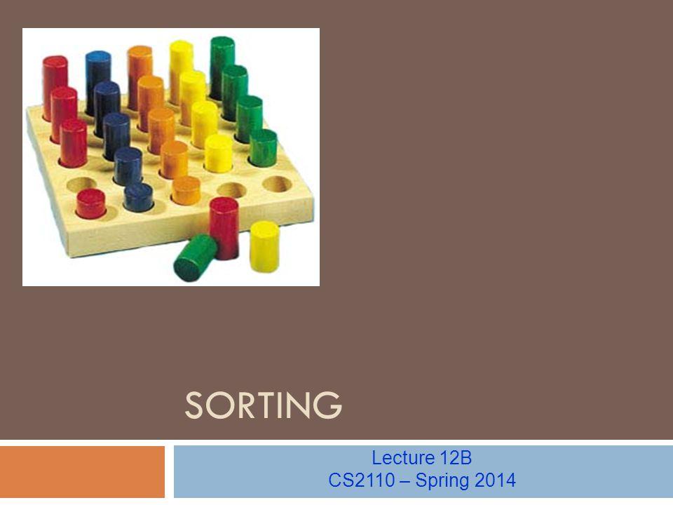 SORTING Lecture 12B CS2110 – Spring 2014