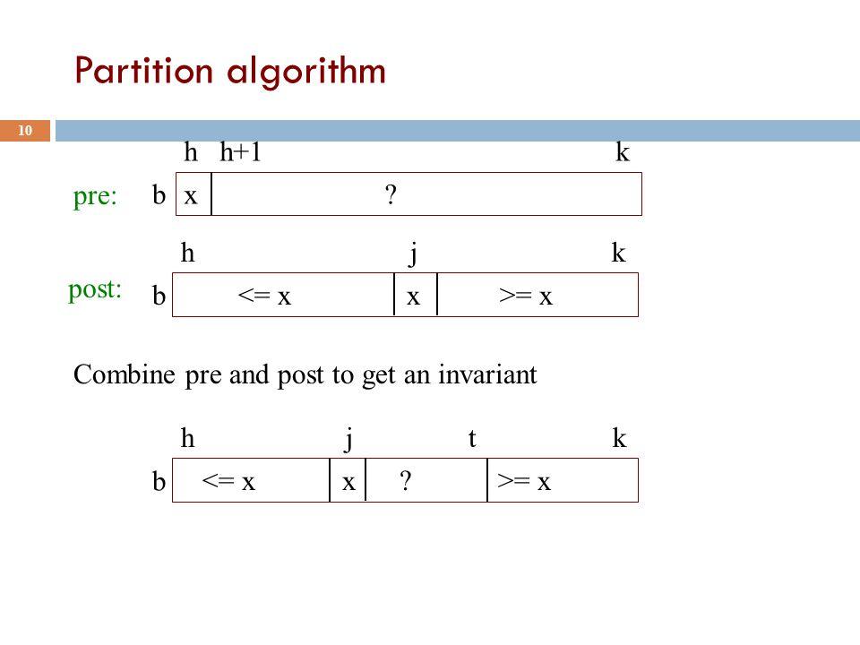 Partition algorithm 10 x .