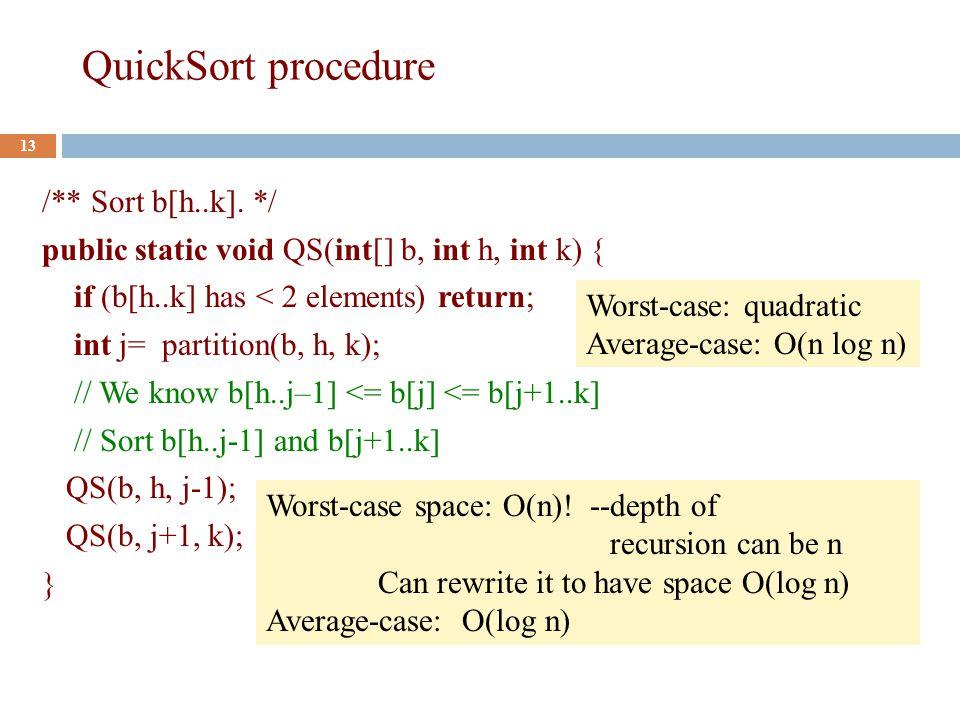 QuickSort procedure 13 /** Sort b[h..k].
