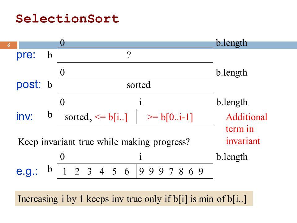 SelectionSort 6 pre: b 0 b.length .