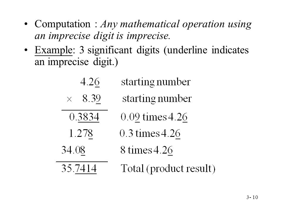 3- 10 Computation : Any mathematical operation using an imprecise digit is imprecise.